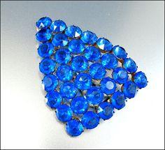 Sapphire Glass Art Deco Brooch Dress Clip Geometric  #Vintage #Jewelry