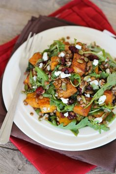 Spiced Squash, Lentil and goats cheese salad