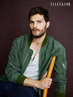 """Fifty Shades of Grey"" star Jamie Dornan sports casual style for Sits for Elle UK's February 2015 Issue."