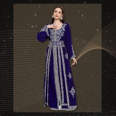 Made with luxurious velvet fabric and hand embroidered with crystals, this Designer Caftan Dress is absolutely breath-taking! The outfit is lined from the inside, comes with a matching belt and is made to order. Product no: 8811