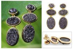 Brazilian drusy agate earrings (3-in-1) - Southern Twilight | NOVICA