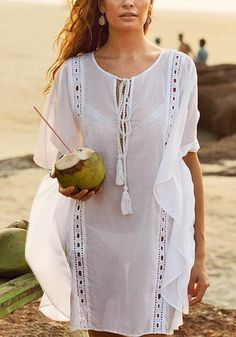 so excited for summer White Kaftan, Bikini Cover Up, Beach Covers, Trendy Tops, Resort Wear, Lace Overlay, Stylish Girl, Summer Looks, Wrap Style