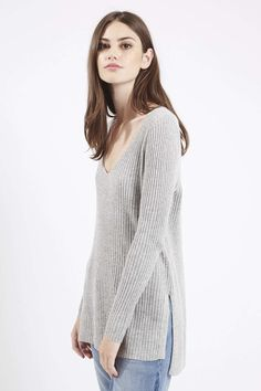 Photo 3 of Longline Ribbed V-Neck Jumper