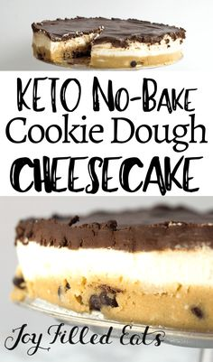 With layers of chocolate chip cookie dough, creamy cheesecake, and rich chocolate ganache my No Bake Cookie Dough Cheesecake may be the best dessert ever. No Bake Cookie Dough, Cookie Dough Cheesecake, Keto Cheesecake, Low Carb Sweets, Low Carb Desserts, Fun Desserts, Vegan Desserts, Keto Cookies, No Bake Cookies
