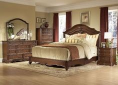 4-Piece Queen Bedroom Set in Brown Cherry | Nebraska Furniture ...