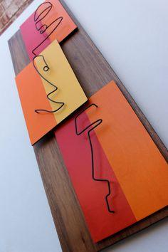 Mid Century Modern Wall Art: THE TIKIS Painted by AtomicPad Hanging Artwork, Metal Artwork, Metal Wall Art, Wood Art, Modern Sculpture, Abstract Sculpture, Abstract City, Abstract Faces, Danish Modern