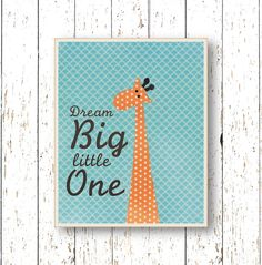 Dream Big Little One Orange and blue nursery art  by LilChipie, $14.00