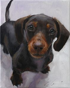"12"" x 16"" Custom Painted Oil Portrait of Your Dog From Your Photo by Clair Hartmann"