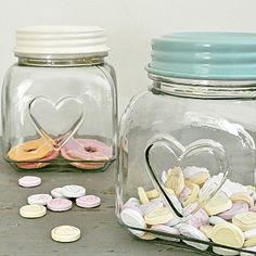 Love Heart Glass Storage Jars - Cream/Blue   Primrose & Plum