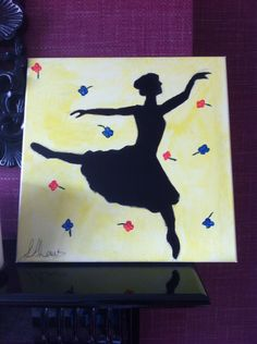 Silhouette of a ballerina surrounded by stage light and flowers thrown by the crowd- painted by L.A.Laws