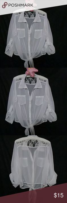 White Sheer Button Down Blouse That Ties(crop top) White Lace & Sheer Button Down Ties in Front Life Energy Intelligence Tops Button Down Shirts