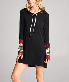 Look what I found on #zulily! Black & Burgundy Geometric Hooded Sweater Dress #zulilyfinds