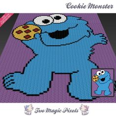 You're going to love Cookie Monster graph crochet pattern by designer TwoMagicPixels. Graph Crochet, Pixel Crochet, C2c Crochet, Crochet Baby, Crochet Patterns, Perler Patterns, Crochet Gifts, Crochet Dolls, Crochet Ideas