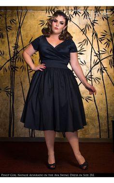 Ava Swing Dress in Black Taffeta - Plus Size
