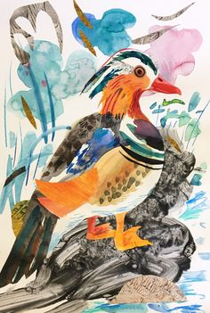 'Mandarin Duck' by Mark Hearld, 2017 (mixed media collage). A new work by Mark Hearld for York Open Studios (21, 22 and 23 April and 29th and 30th April 2017)