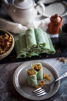 Crepes with sweet coconut (Kue dadar gulung)