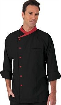 Men's Raglan 3/4 Sleeve Chef Coat - Snap Front Closure - 65/35 Poly/Cotton  Bussers coat
