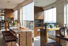 Móveis de madeira deixam a decô desta varanda com um ar descontraído. a mesa e os bancos são da Artefacto Beach & Country, e os futons, da Futon & Home. O aparador de madeira da L'Oeil é utilizado pelos moradores como apoio para as refeições. ao fundo, o  (Foto: Casa e Jardim)