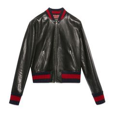 Gucci Embroidered Leather Bomber Jacket (24481800 PYG) ❤ liked on Polyvore featuring outerwear, jackets, coats & jackets, gucci jacket, embroidery jackets, patch jacket, real leather jackets and bomber jacket
