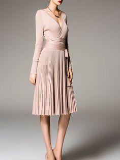 Beige Pleated Long Sleeve V Neck Midi Dress