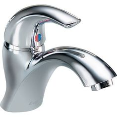 Delta 22C641 Single Handle 1.5GPM Single Hole Mount Bathroom Faucet with Less Pop-Up Assembly from the Commercial Series, Grey chrome