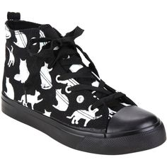 Hot Topic Black & White Cat Hi-Top Sneakers ($18) ❤ liked on Polyvore featuring shoes, sneakers, black, cat trainer, black and white trainer, black high top shoes, black and white high tops and white and black shoes
