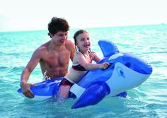 """57"""" Transparent Blue and White Whale Rider Inflatable Swimming Pool Float Toy"""