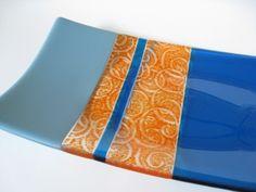 Fused Glass Rectangle Plate  Blue & Orange Pattern using powder technique