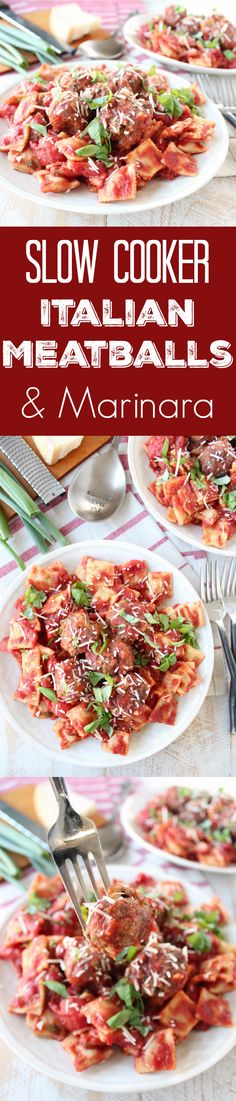 Delicious Italian meatballs are slow cooked in a homemade marinara sauce with pasta for a scrumptious dinner that can easily feed the whole family! Serve it up on World Market Muir Plates with Twig Dinner Forks! #WorldMarketTribe