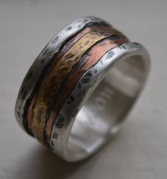 @mollie wren wren Burke mens wedding band  rustic fine silver copper and by MaggiDesigns, $205.00