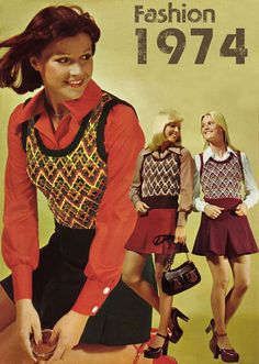 Sweater vests with pointed collared shirts & skirts - 1974 fashions!