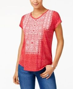 Style & Co Petite Embroidered T-Shirt, Created for Macy's - Red P/XS
