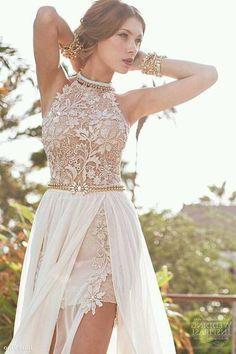 High slit lace chiffon a-line beach wedding dress sexy women's bridal gowns Elegant Prom Dresses, Prom Dresses 2018, Bohemian Wedding Dresses, Wedding Dresses For Sale, Sexy Dresses, Wedding Gowns, Lace Wedding, Backless Wedding, Wedding Beach