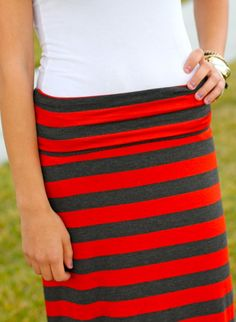 Striped Maxi-Skirts - Super Comfy! Perfect for Fall! At VeryJane.com