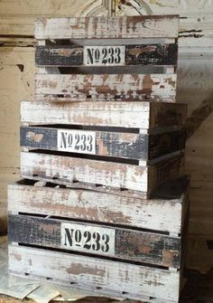 Vintage Striped Wood Crates