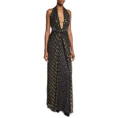 Diane Von Furstenberg Evelina Metallic Floral-Print Maxi Halter Dress ($898) ❤ liked on Polyvore featuring dresses, gowns, women's apparel dresses, halter maxi dress, floral maxi dress, floral gown, maxi dresses and floral evening gown