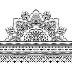 Seamless borders with mandala for design, application of henna, Mehndi and tattoo. Decorative pattern in ethnic oriental style. - Illustrazione del vettoriali, clipart e vettori stock Seamless borders with mandala for design, app - Mandala Art, Mandala Tattoo Design, Mandalas Drawing, Henna Mandala, Henna Hand Designs, Mehndi Designs, Henna Tattoo Designs, Henna Designs Drawing, Henna Designs On Paper