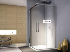 Duschabtrennung schiebetür eckeinstieg  Duschkabine Schiebetür 90 x 80 x 190 cm Eckeinstieg Echtglas (klar ...