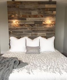 Weathered Wood /stikwooddesign/ peel and stick wood headboard wall!/stikwooddesign/ peel and stick wood headboard wall! Home Decor Bedroom, Diy Home Decor, Bedroom Ideas, Diy Bedroom, Bedroom Designs, Bedroom Inspiration, Wood Bedroom Wall, Bed Designs, Diy Projects For Bedroom