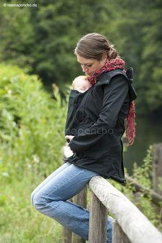 Softshellová bunda černá -těhotenská/nosící | Mamaja.cz Baby Wearing, Rain Jacket, Windbreaker, Softshell, Outdoor Decor, Black, Fashion, Moda, Black People
