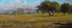 An oil painting by Annie Harmon, an early California fine art painter. This picture is of a meadow filled oaks near San Francisco, California.