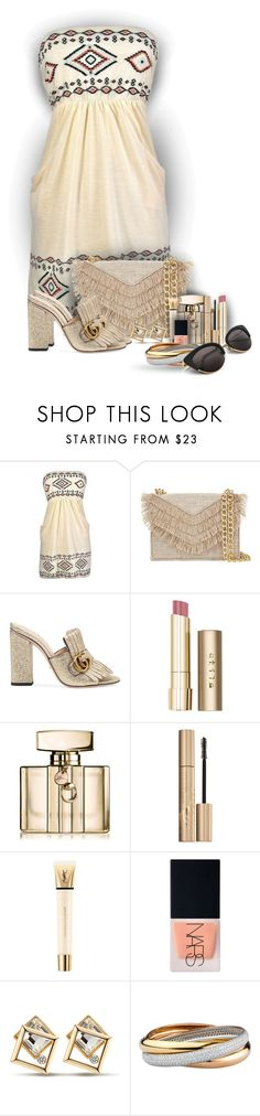 """""""Summertime night set!"""" by sarahguo ❤ liked on Polyvore featuring Cynthia Rowley, Gucci, Stila, Yves Saint Laurent and NARS Cosmetics"""