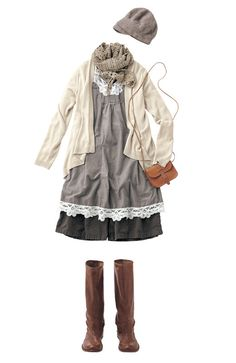 barbaricmysticalbored: A variety of interesting neutrals and textures make the Mori Girl look.