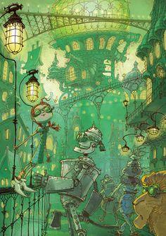 Emerald+city+Wizard+of+oz+Original+illustration+by+by+yanivshimony,+$12.00