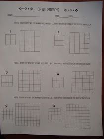 After a discussion about patterns, this is the worksheet I start them with.      Example           From here, they select one...