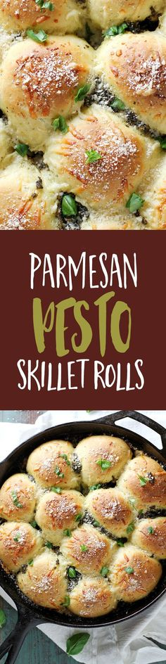 These Parmesan pesto skillet rolls are soft, tender and fluffy, and filled and topped with cheese and pesto. This recipe is perfect to bake and serve as a savory side dish or on their own!