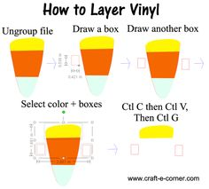 How to layer vinyl: Draw two squares on each side of the design. Next, click one of the layers and hold shift as you click each of the squares. Next press Control C and then Control V (copy and paste) and then Control G. This will group the pieces together.