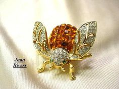 Goldtone Amber Swarovski Crystal Bee Pin Brooch from Collection of Joan Rivers | eBay