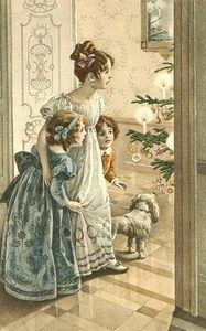 Christmas Fabric Block Vintage Postcard Victorian Parlor | eBay