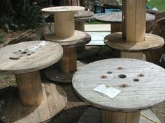 Wooden Spool for coffee or side table outside... just need to stain it.